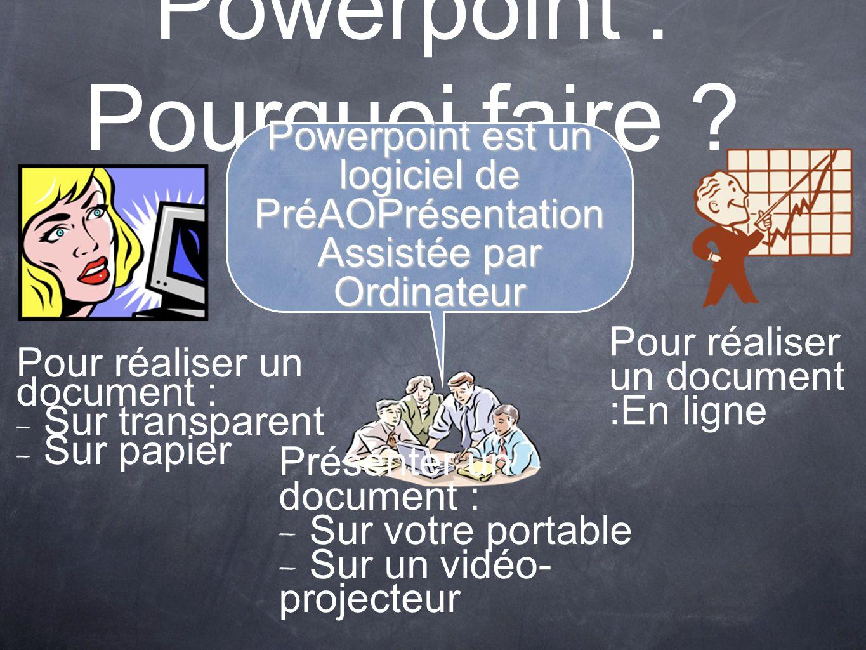 Powerpoint : Pourquoi faire ? Présenter un document : Sur votre portable Sur un vidéo- projecteur Pour réaliser un document : Sur transparent Sur papi