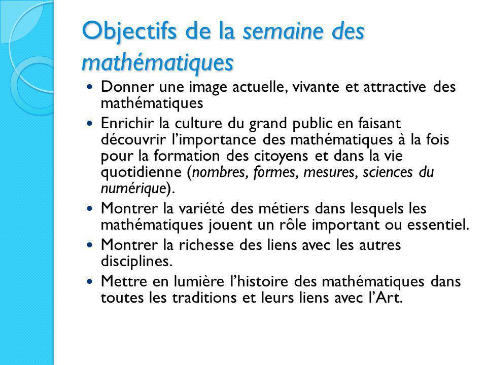 Objectifs de la semaine des mathématiques Donner une image actuelle, vivante et attractive des mathématiques Enrichir la culture du grand public en fa
