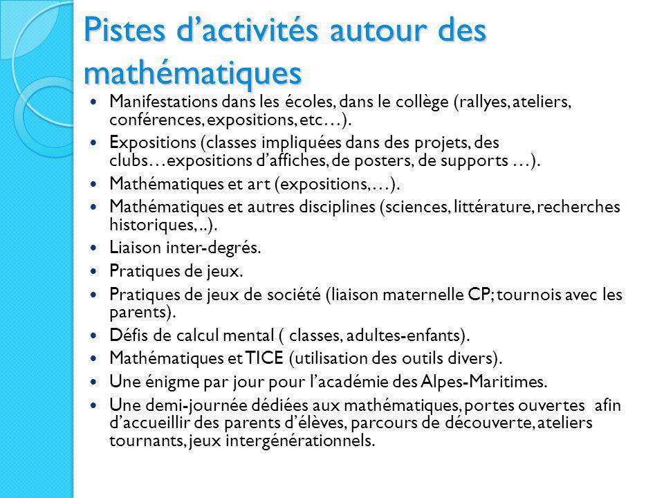 Pistes d'activités autour des mathématiques Manifestations dans les écoles, dans le collège (rallyes, ateliers, conférences, expositions, etc…). Expos