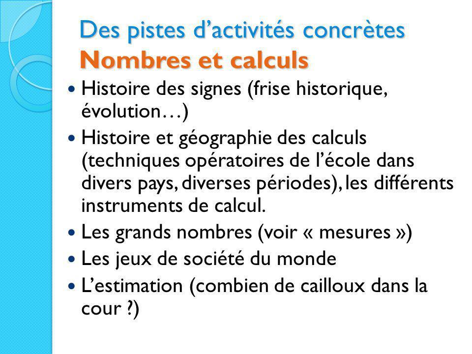 Des pistes d'activités concrètes Nombres et calculs Histoire des signes (frise historique, évolution…) Histoire et géographie des calculs (techniques