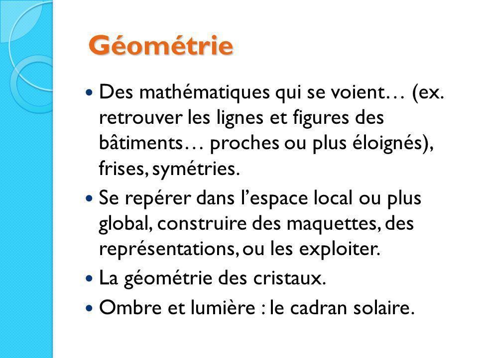Géométrie Géométrie Des mathématiques qui se voient… (ex. retrouver les lignes et figures des bâtiments… proches ou plus éloignés), frises, symétries.