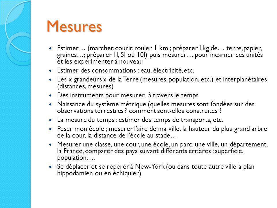Mesures Estimer… (marcher, courir, rouler 1 km ; préparer 1kg de… terre, papier, graines…; préparer 1l, 5l ou 10l) puis mesurer… pour incarner ces uni