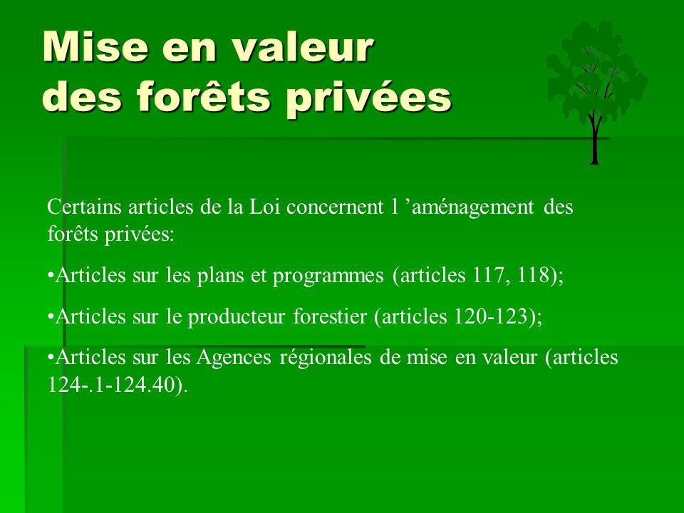 Mise en valeur des forêts privées Certains articles de la Loi concernent l 'aménagement des forêts privées: Articles sur les plans et programmes (arti