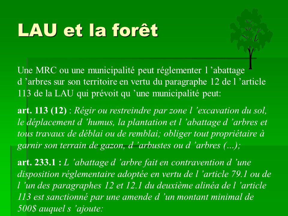 LAU et la forêt Une MRC ou une municipalité peut réglementer l 'abattage d 'arbres sur son territoire en vertu du paragraphe 12 de l 'article 113 de l