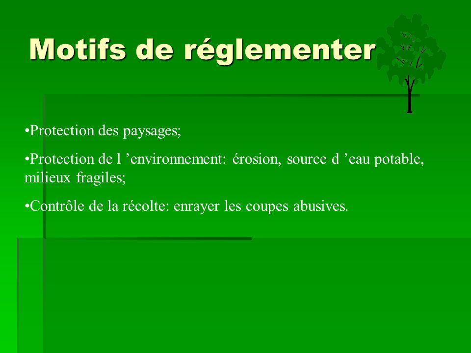 Motifs de réglementer Protection des paysages; Protection de l 'environnement: érosion, source d 'eau potable, milieux fragiles; Contrôle de la récolt