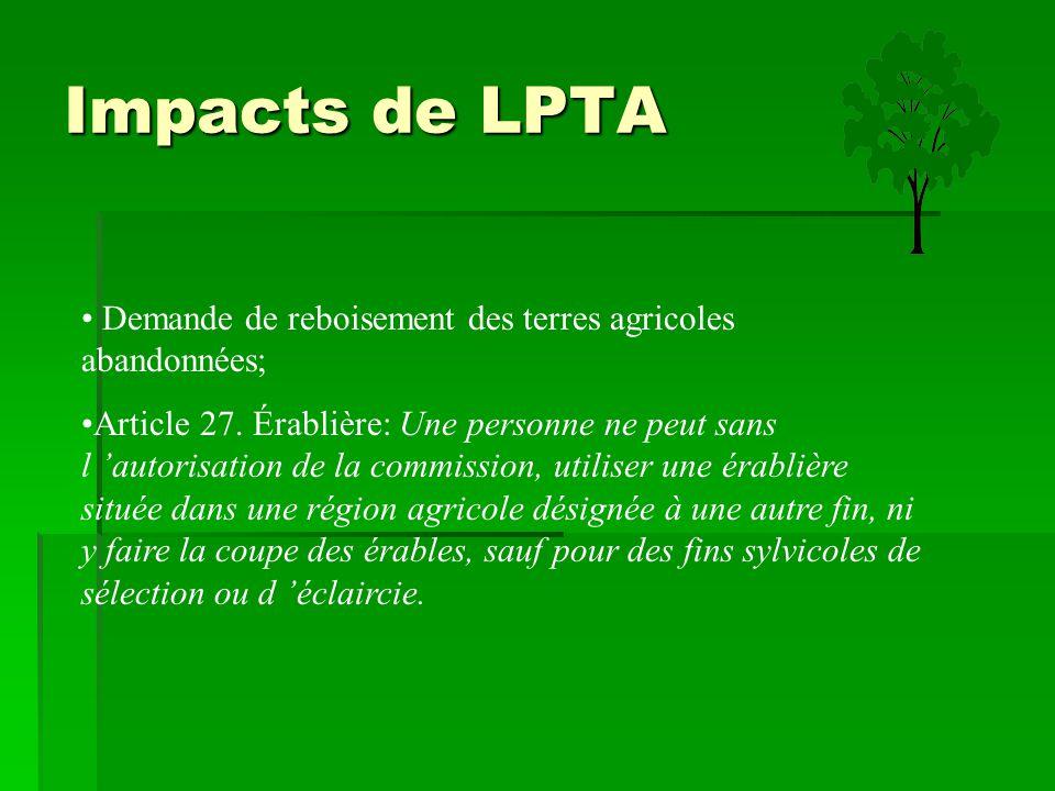Impacts de LPTA Demande de reboisement des terres agricoles abandonnées; Article 27. Érablière: Une personne ne peut sans l 'autorisation de la commis