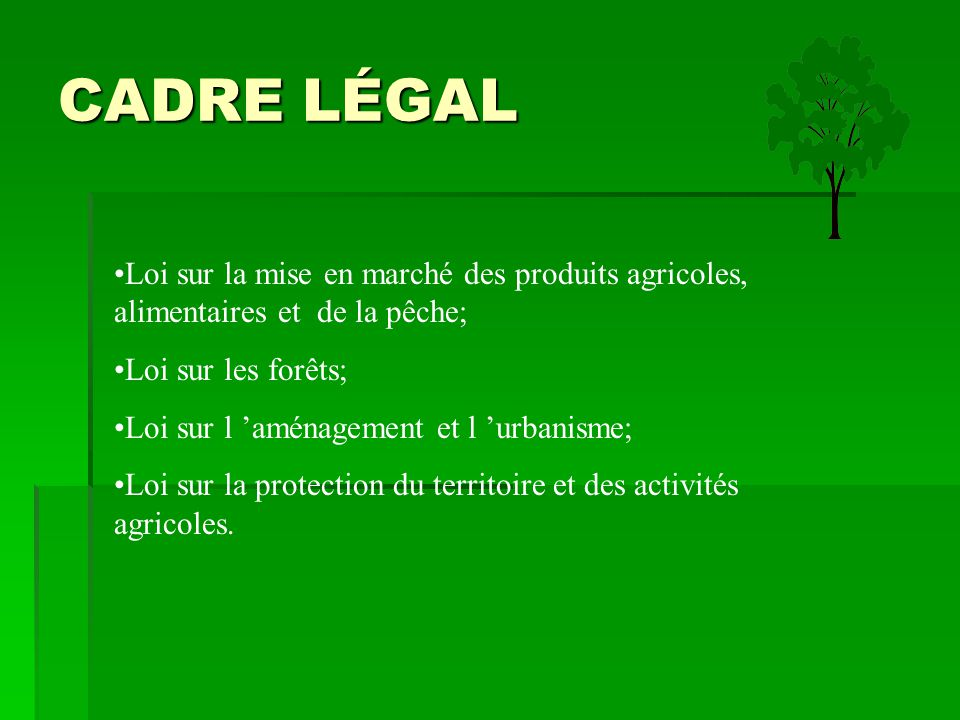CADRE LÉGAL Loi sur la mise en marché des produits agricoles, alimentaires et de la pêche; Loi sur les forêts; Loi sur l 'aménagement et l 'urbanisme;