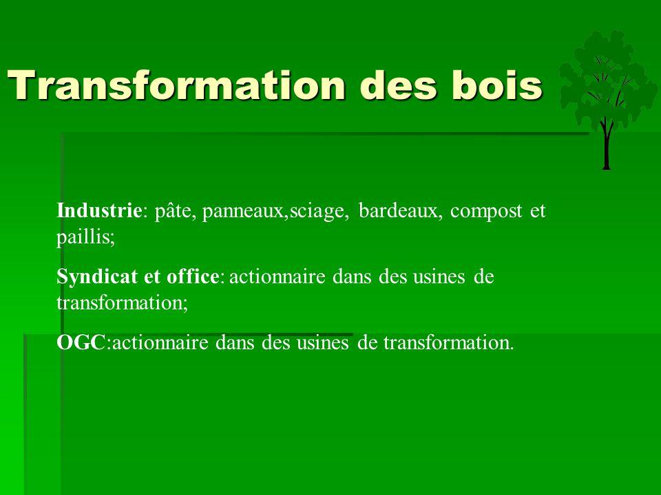 Transformation des bois Industrie: pâte, panneaux,sciage, bardeaux, compost et paillis; Syndicat et office: actionnaire dans des usines de transformat
