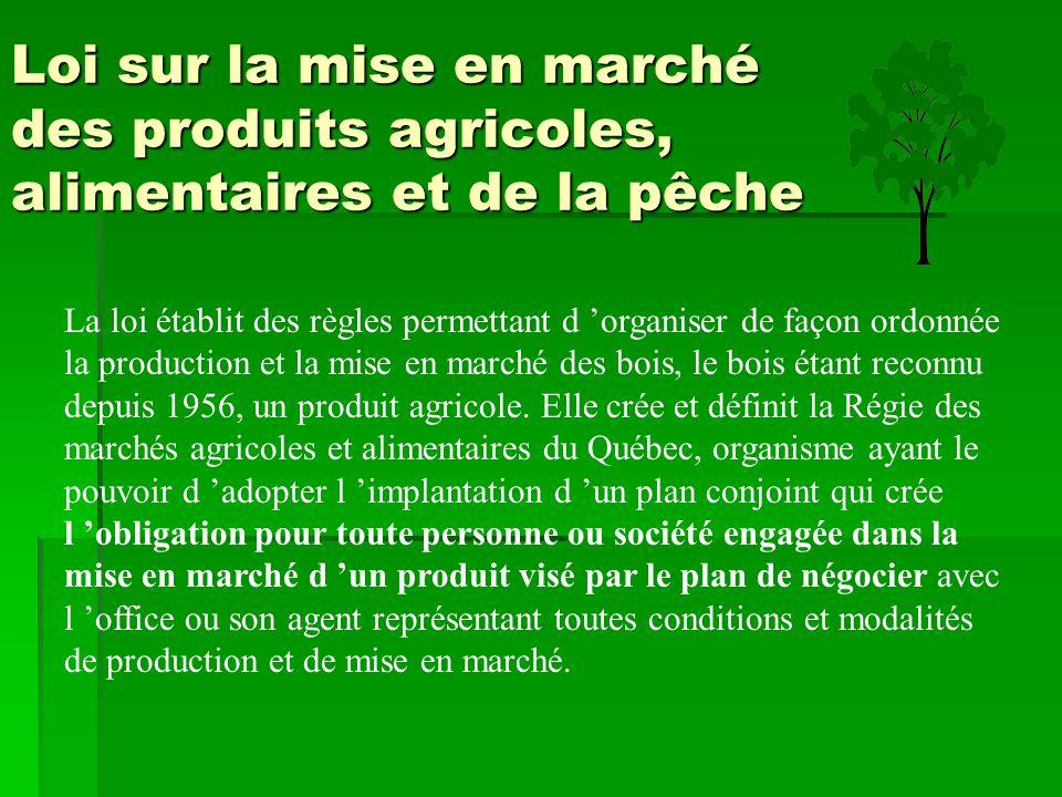 Loi sur la mise en marché des produits agricoles, alimentaires et de la pêche La loi établit des règles permettant d 'organiser de façon ordonnée la p