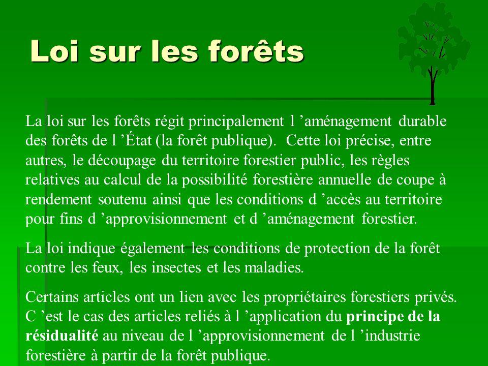 Loi sur les forêts La loi sur les forêts régit principalement l 'aménagement durable des forêts de l 'État (la forêt publique). Cette loi précise, ent