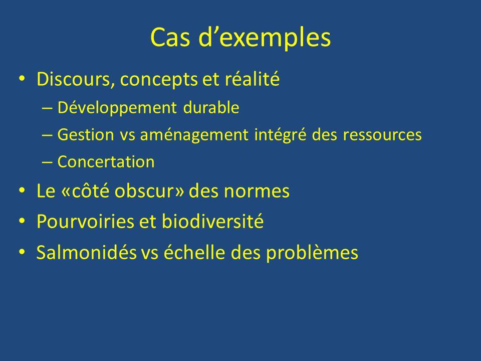 Cas d'exemples Discours, concepts et réalité – Développement durable – Gestion vs aménagement intégré des ressources – Concertation Le «côté obscur» des normes Pourvoiries et biodiversité Salmonidés vs échelle des problèmes