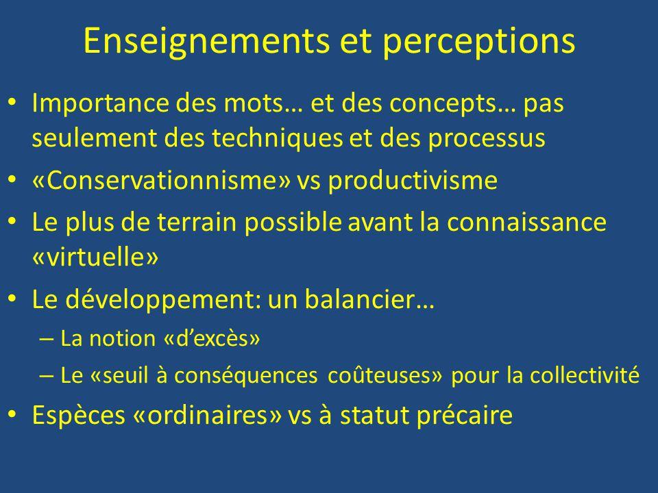 Enseignements et perceptions Importance des mots… et des concepts… pas seulement des techniques et des processus «Conservationnisme» vs productivisme Le plus de terrain possible avant la connaissance «virtuelle» Le développement: un balancier… – La notion «d'excès» – Le «seuil à conséquences coûteuses» pour la collectivité Espèces «ordinaires» vs à statut précaire