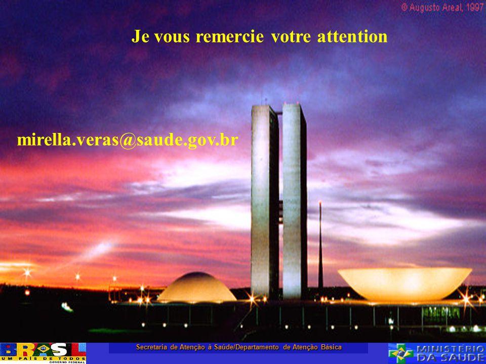 Secretaria de Atenção à Saúde/Departamento de Atenção Básica Je vous remercie votre attention mirella.veras@saude.gov.br
