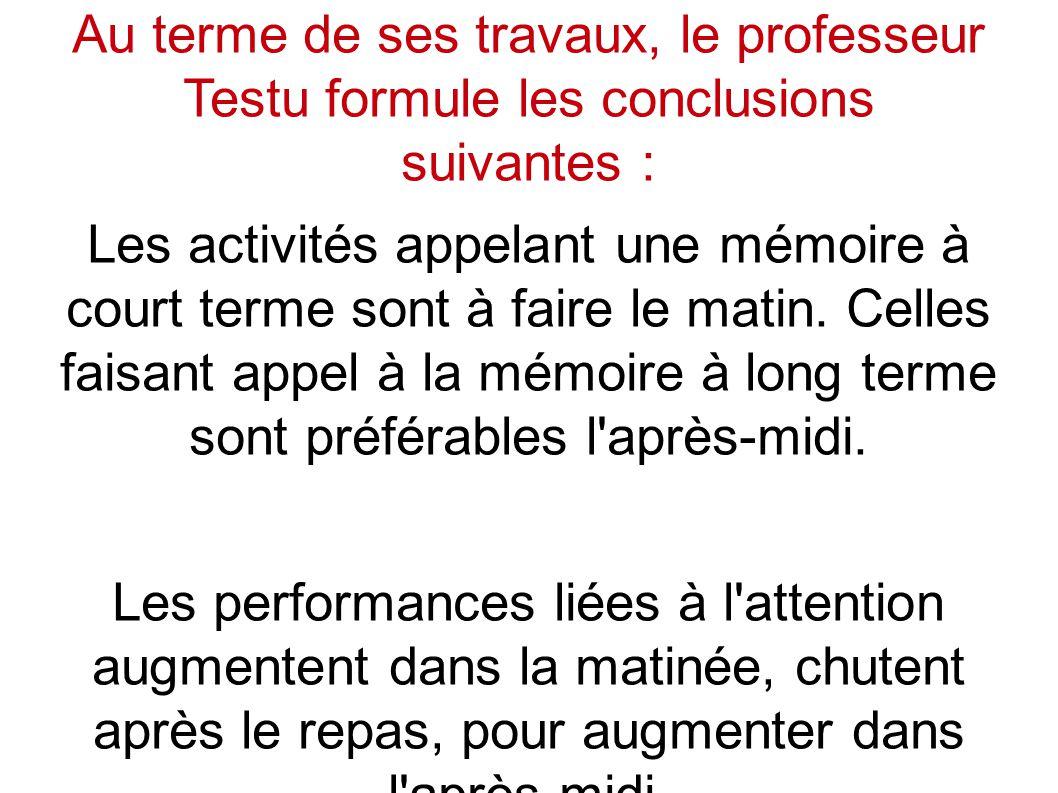 Au terme de ses travaux, le professeur Testu formule les conclusions suivantes : Les activités appelant une mémoire à court terme sont à faire le matin.