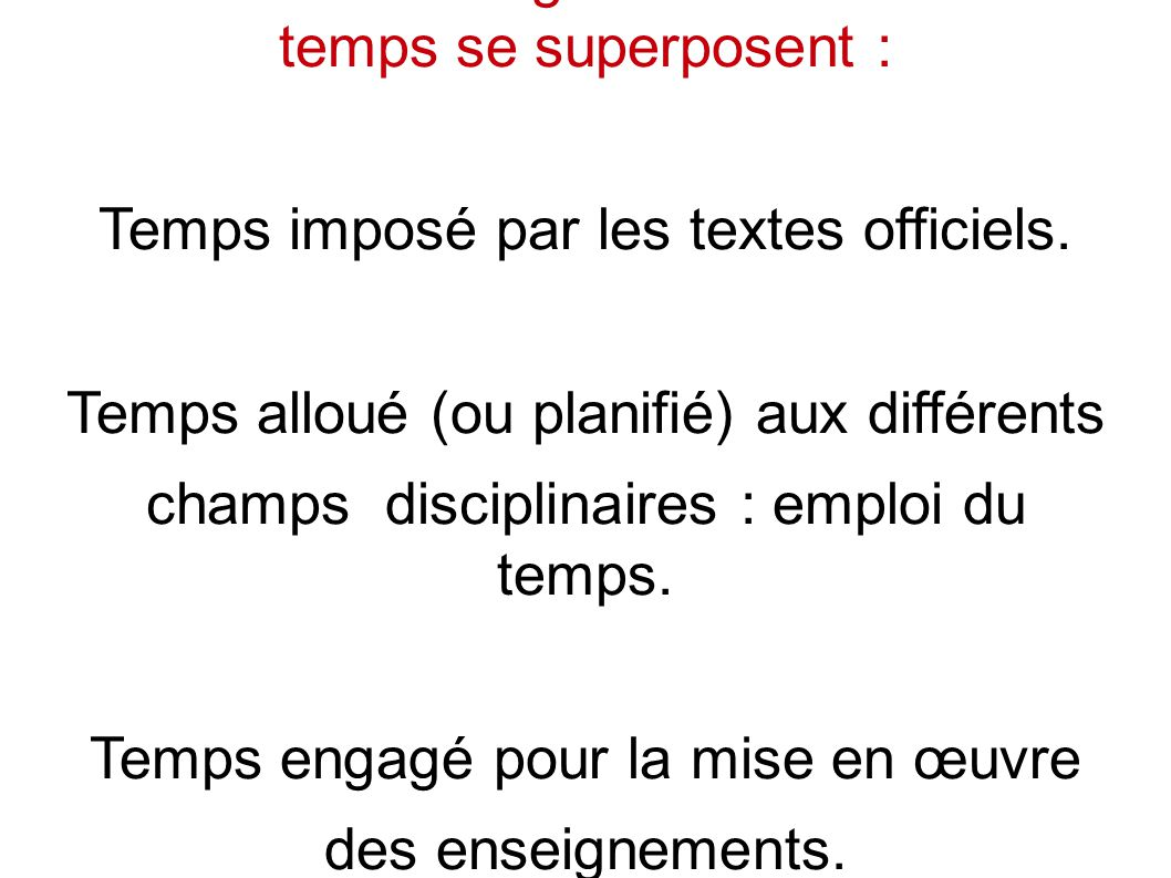Du coté de l enseignant : trois sortes de temps se superposent : Temps imposé par les textes officiels.
