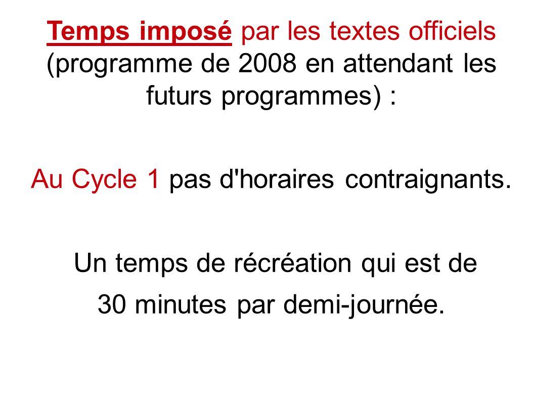 Temps imposé par les textes officiels (programme de 2008 en attendant les futurs programmes) : Au Cycle 1 pas d horaires contraignants.