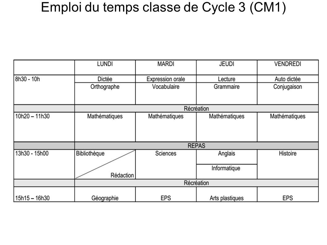 Emploi du temps classe de Cycle 3 (CM1)