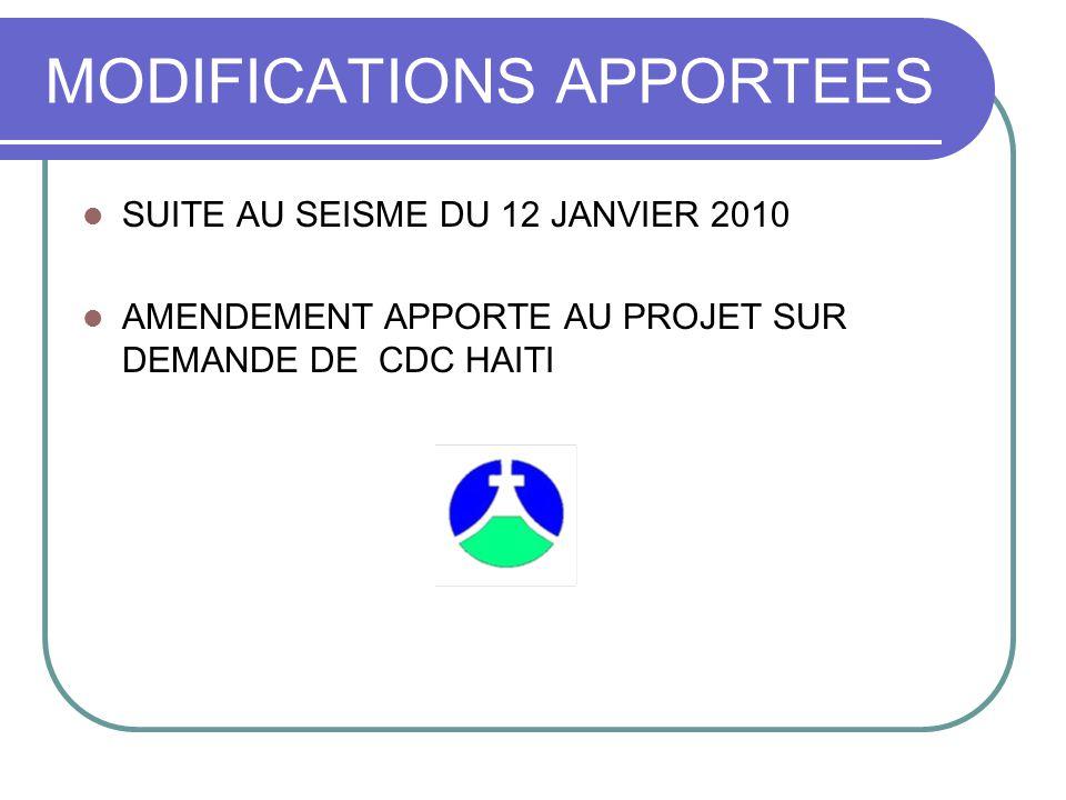 MODIFICATIONS APPORTEES SUITE AU SEISME DU 12 JANVIER 2010 AMENDEMENT APPORTE AU PROJET SUR DEMANDE DE CDC HAITI