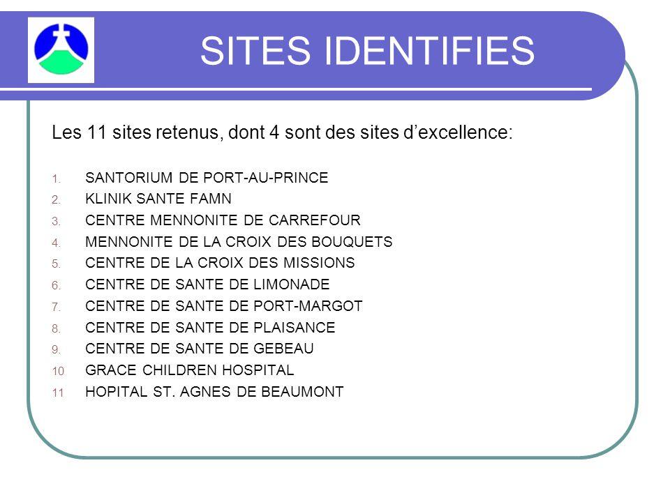 SITES IDENTIFIES Les 11 sites retenus, dont 4 sont des sites d'excellence: 1.