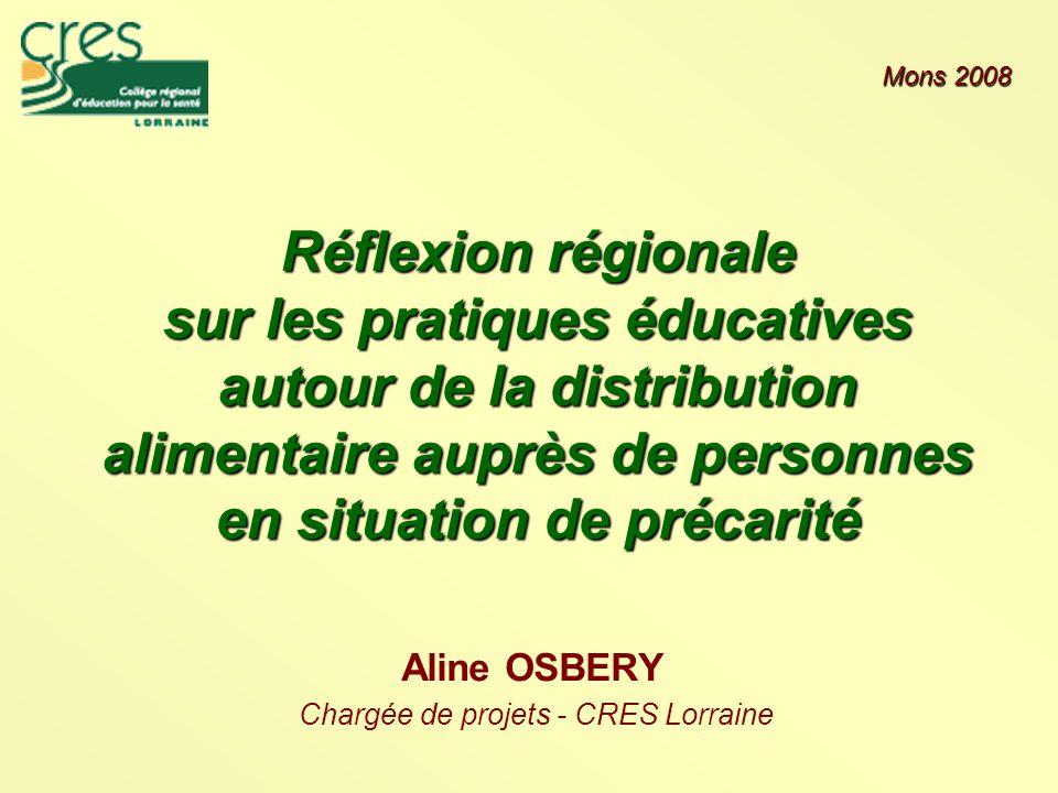 Réflexion régionale sur les pratiques éducatives autour de la distribution alimentaire auprès de personnes en situation de précarité Aline OSBERY Chargée de projets - CRES Lorraine Mons 2008