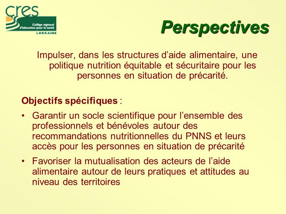 Perspectives Impulser, dans les structures d'aide alimentaire, une politique nutrition équitable et sécuritaire pour les personnes en situation de précarité.