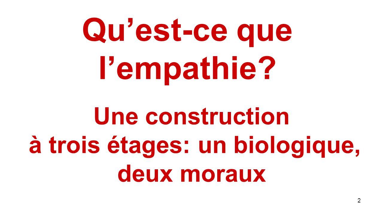 2 Qu'est-ce que l'empathie? Une construction à trois étages: un biologique, deux moraux
