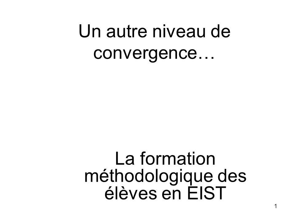 1 Un autre niveau de convergence… La formation méthodologique des élèves en EIST