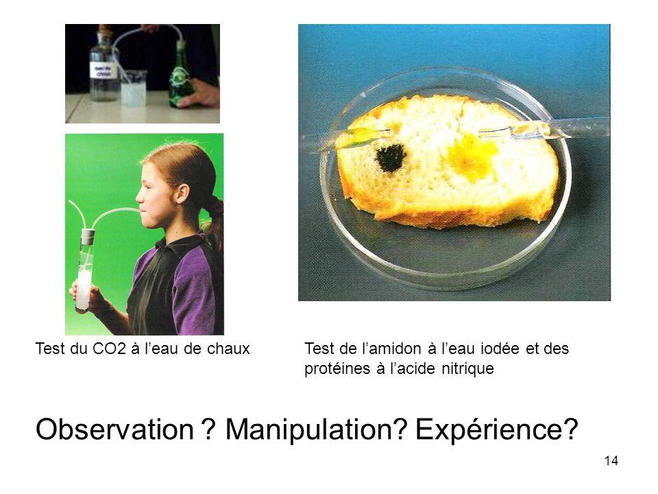 14 Test du CO2 à l'eau de chauxTest de l'amidon à l'eau iodée et des protéines à l'acide nitrique Observation ? Manipulation? Expérience?