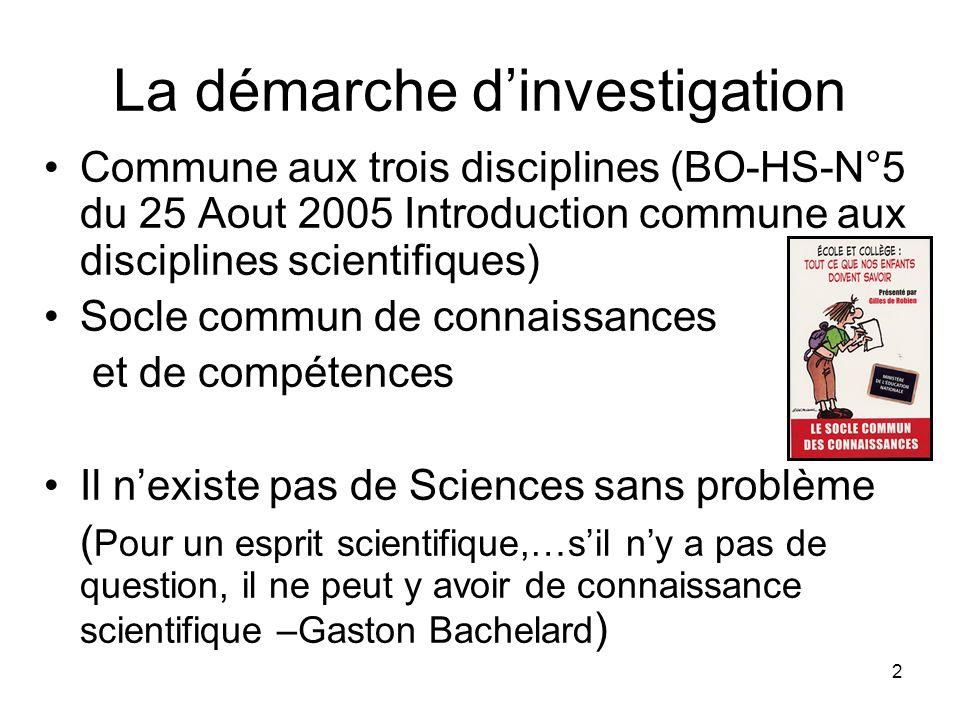 2 La démarche d'investigation Commune aux trois disciplines (BO-HS-N°5 du 25 Aout 2005 Introduction commune aux disciplines scientifiques) Socle commu