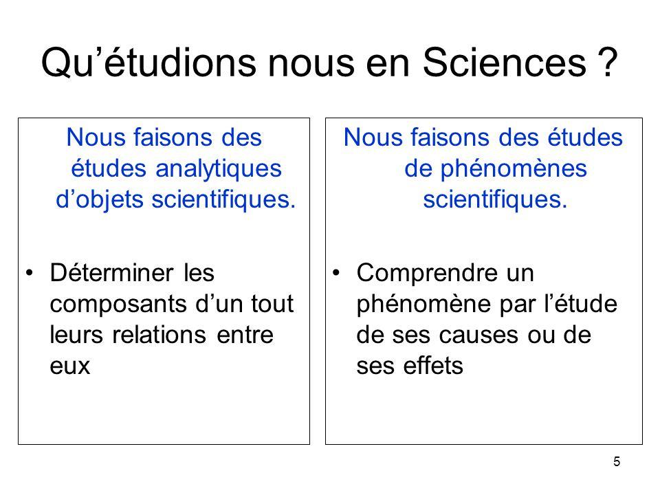 5 Qu'étudions nous en Sciences ? Nous faisons des études analytiques d'objets scientifiques. Déterminer les composants d'un tout leurs relations entre