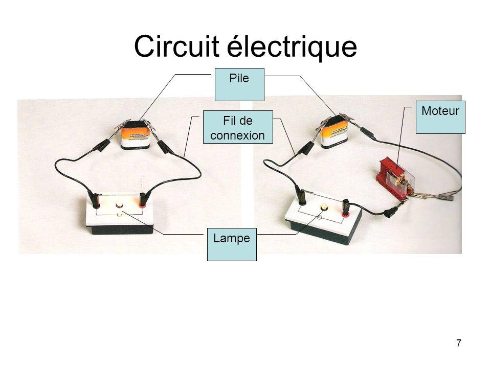 7 Circuit électrique Pile Fil de connexion Lampe Moteur
