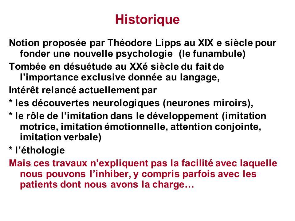 Historique Notion proposée par Théodore Lipps au XIX e siècle pour fonder une nouvelle psychologie (le funambule) Tombée en désuétude au XXé siècle du
