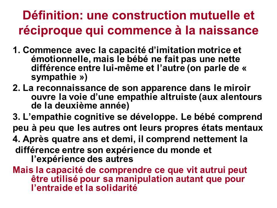Définition: une construction mutuelle et réciproque qui commence à la naissance 1. Commence avec la capacité d'imitation motrice et émotionnelle, mais