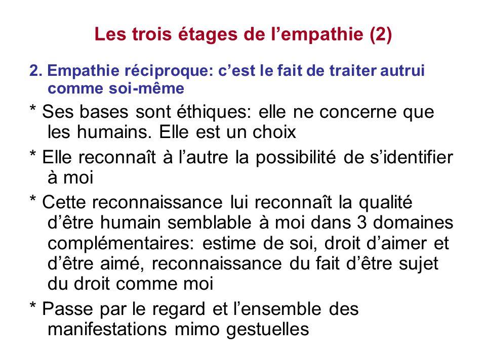 Les trois étages de l'empathie (2) 2. Empathie réciproque: c'est le fait de traiter autrui comme soi-même * Ses bases sont éthiques: elle ne concerne
