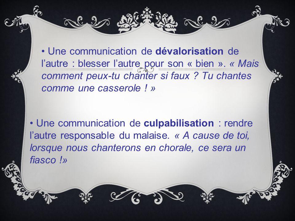 Une communication de dévalorisation de l'autre : blesser l'autre pour son « bien ».