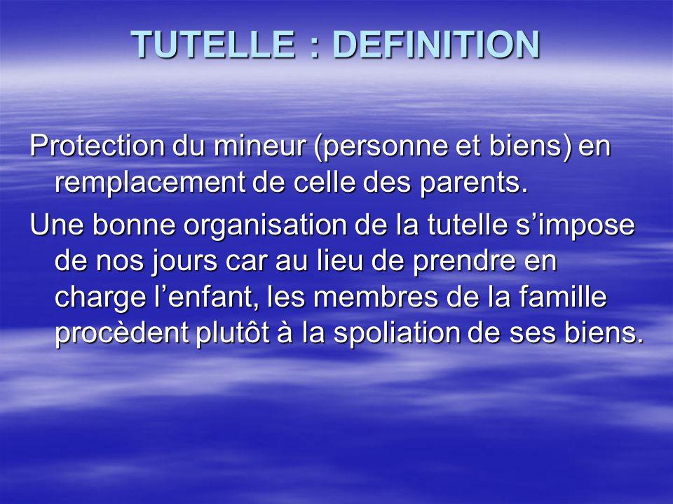 TUTELLE : DEFINITION Protection du mineur (personne et biens) en remplacement de celle des parents. Une bonne organisation de la tutelle s'impose de n