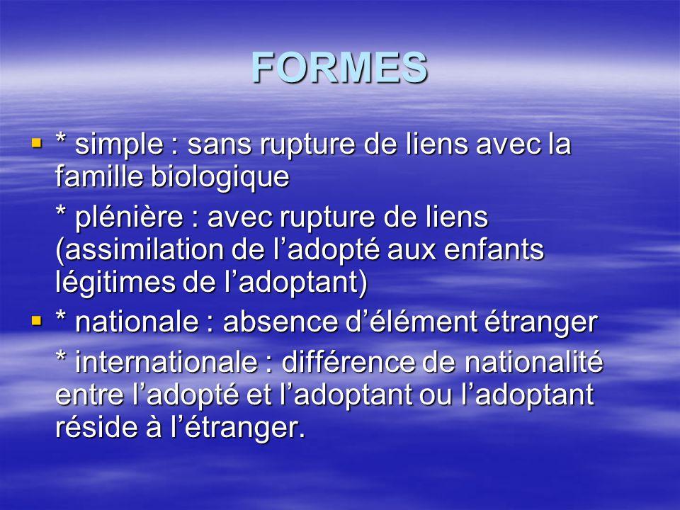 FORMES  * simple : sans rupture de liens avec la famille biologique * plénière : avec rupture de liens (assimilation de l'adopté aux enfants légitime