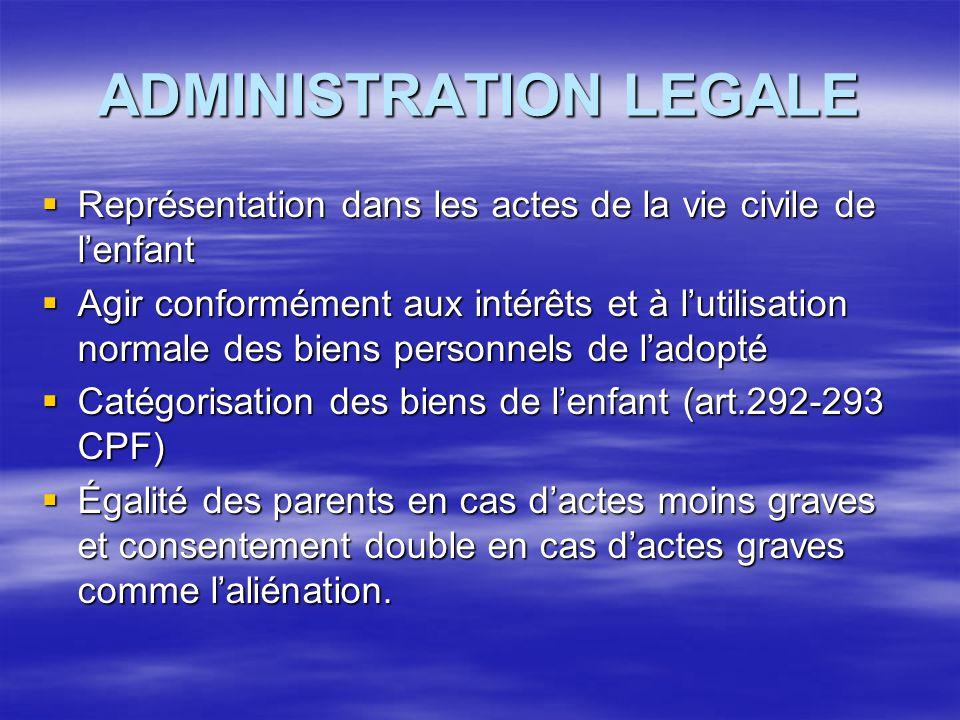 ADMINISTRATION LEGALE  Représentation dans les actes de la vie civile de l'enfant  Agir conformément aux intérêts et à l'utilisation normale des bie