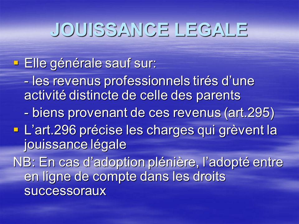 JOUISSANCE LEGALE  Elle générale sauf sur: - les revenus professionnels tirés d'une activité distincte de celle des parents - biens provenant de ces