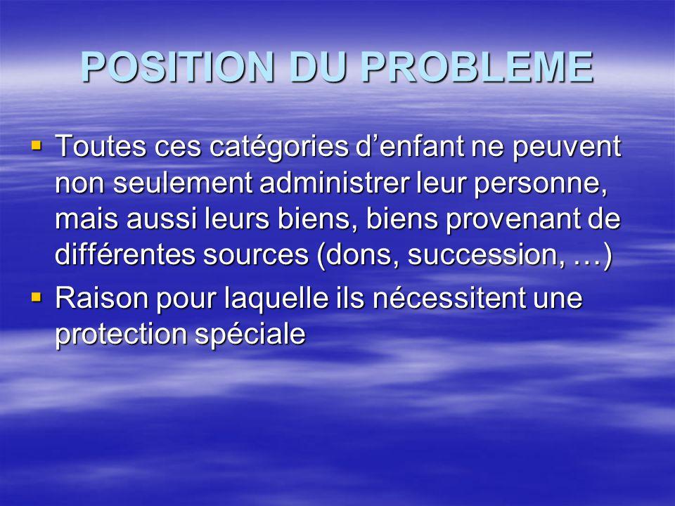 POSITION DU PROBLEME  Toutes ces catégories d'enfant ne peuvent non seulement administrer leur personne, mais aussi leurs biens, biens provenant de d