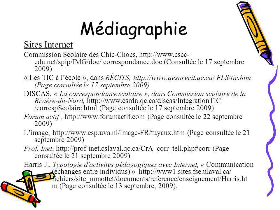 Médiagraphie Sites Internet Commission Scolaire des Chic-Chocs, http://www.cscc- edu.net/spip/IMG/doc/ correspondance.doc (Consultée le 17 septembre 2