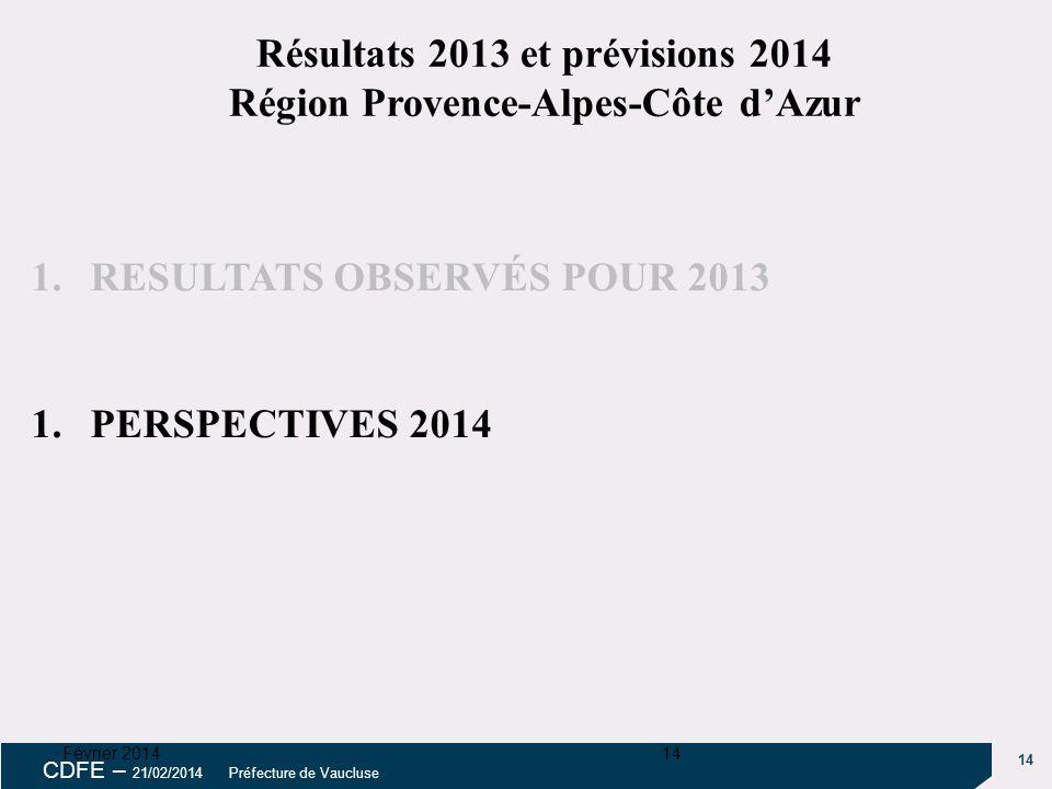 14 CDFE – 21/02/2014 Préfecture de Vaucluse Février 201414 1.RESULTATS OBSERVÉS POUR 2013 1.PERSPECTIVES 2014 Résultats 2013 et prévisions 2014 Région Provence-Alpes-Côte d'Azur