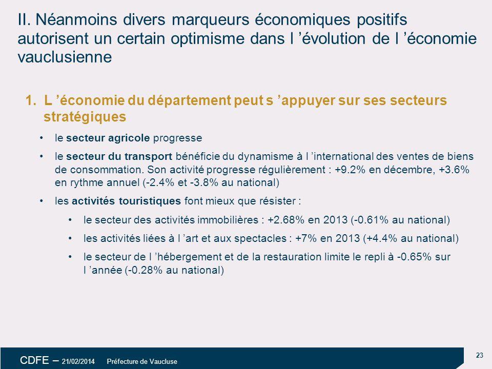 23 CDFE – 21/02/2014 Préfecture de Vaucluse II.