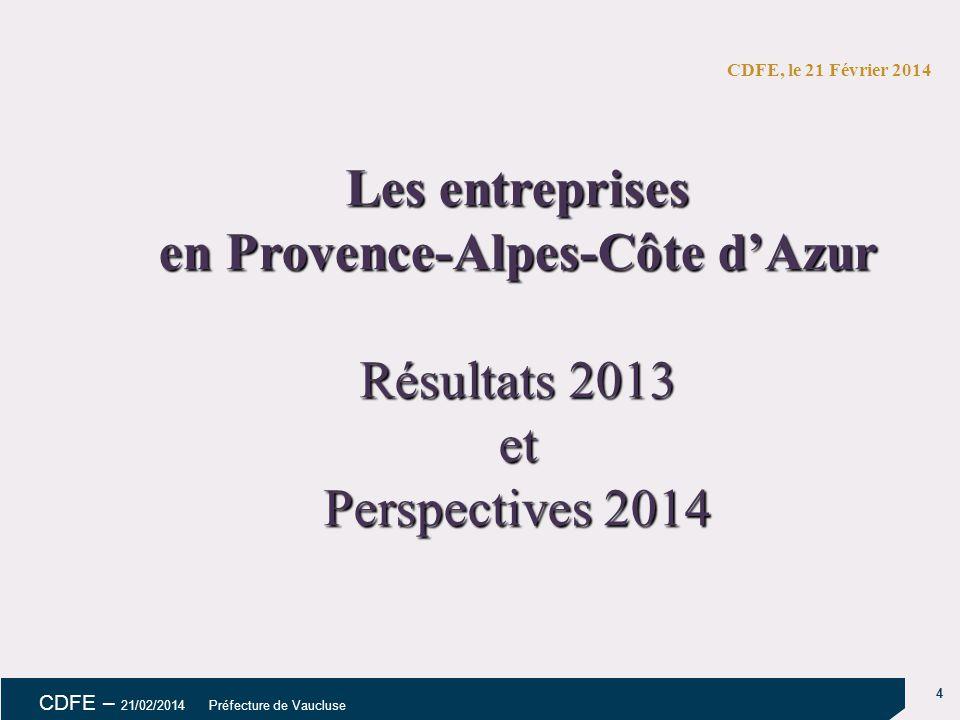 5 CDFE – 21/02/2014 Préfecture de Vaucluse Février 20145 1.RESULTATS OBSERVÉS POUR 2013 1.PERSPECTIVES 2014 Résultats 2013 et prévisions 2014 Région Provence-Alpes-Côte d'Azur