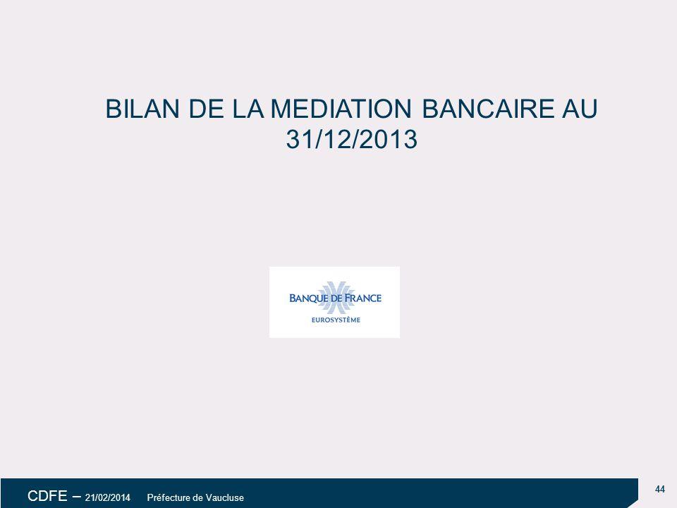44 CDFE – 21/02/2014 Préfecture de Vaucluse BILAN DE LA MEDIATION BANCAIRE AU 31/12/2013