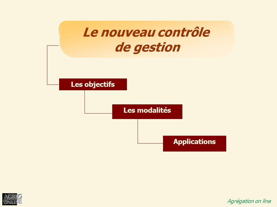 Titre Général Agrégation on line Le nouveau contrôle de gestion Agrégation on line Les objectifs Les modalités Applications
