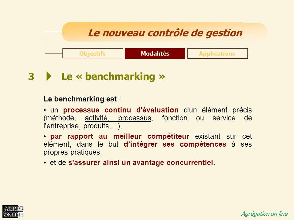 Titre Général Agrégation on line Le nouveau contrôle de gestion Agrégation on line 3 Le « benchmarking » Le benchmarking est : un processus continu d'