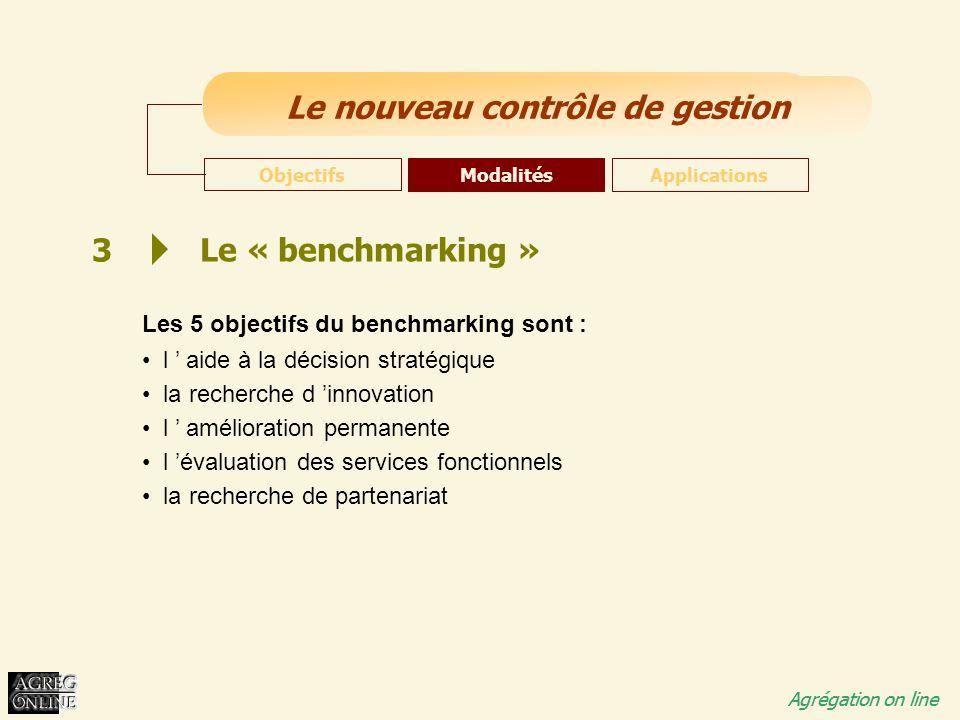 Titre Général Agrégation on line Le nouveau contrôle de gestion Agrégation on line 3 Le « benchmarking » Les 5 objectifs du benchmarking sont : l ' ai