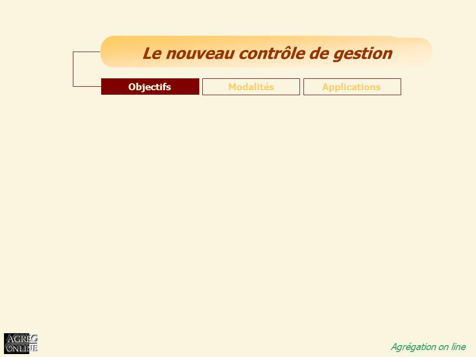 Titre Général Agrégation on line Le nouveau contrôle de gestion Agrégation on line Objectifs ModalitésApplications