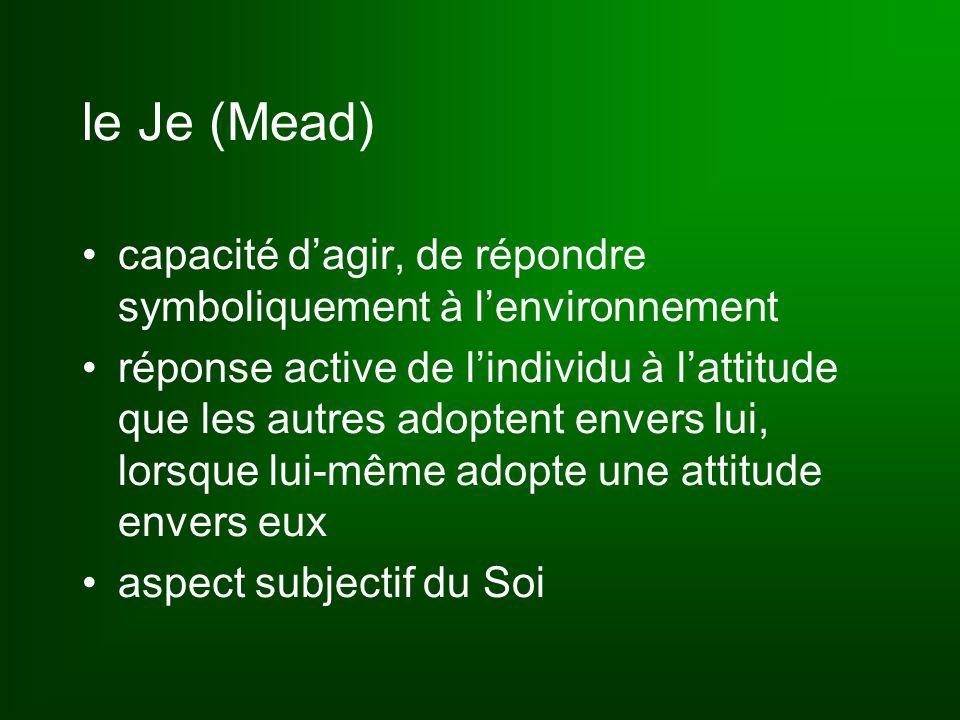 le Je (Mead) capacité d'agir, de répondre symboliquement à l'environnement réponse active de l'individu à l'attitude que les autres adoptent envers lui, lorsque lui-même adopte une attitude envers eux aspect subjectif du Soi